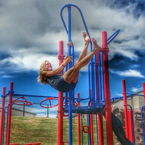 Stopped at a small town elementary school to play on the playground!
