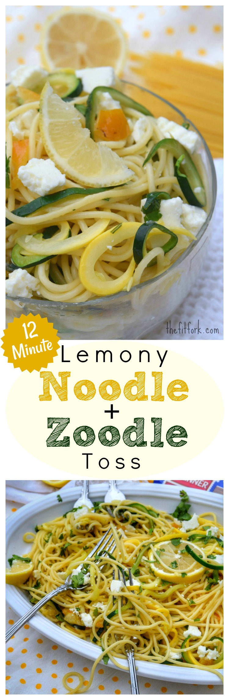 12 Minute Lemony Noodle Zoodle Toss - this pasta and squash dish is super easy and comes together in one part in just the short time it takes to boil the noodles. Great as a side dish or paired with your favorite lean protein for lunch or dinner.