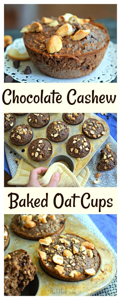 Chocolate Cashew Baked Oat Cups make a great grab-and-go breakfast or anytime snack. Made with unsweetened almond milk, plant-based protein powder, oats and other wholesome ingredients. Dairy-free, gluten-free and easy meal prep to make ahead and freeze.