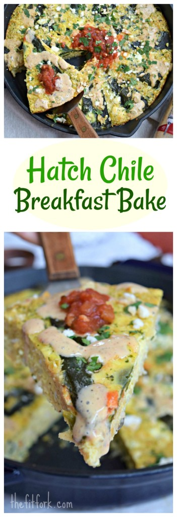 Hatch Chile Breakfast Bake is a supper yummy, southwestern vegetarian dish that is also idea for lunch or dinner! If Hatch green chiles aren't in season, Poblano pepper can be used instead! Hearty yet healthy, this budget-friendly egg recipe has 18g protein and 320 calories.