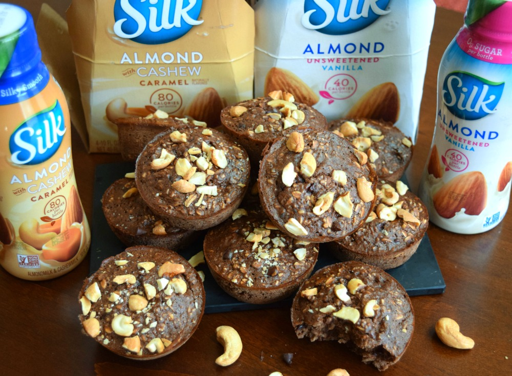 silk milk and chocolate cashew oat cup muffins