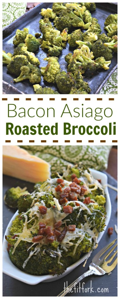 Bacon Asiago Roasted Broccoli is an easy side dish that pairs well with chicken, fish or beef.