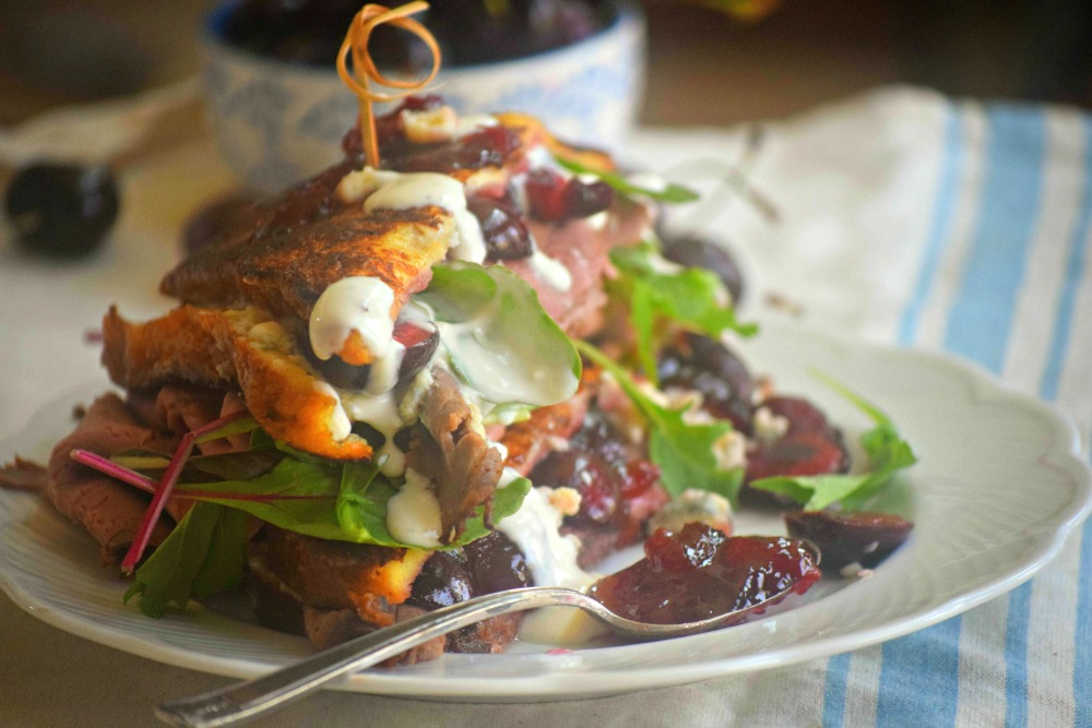 Beef Blue Cheese Monte Cristo with Cherries moody