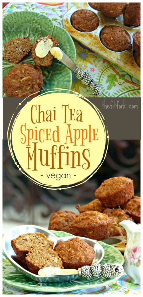 Chai Tea Spiced Apple Muffins beckon with the scent and taste of chai spices. Perfect to make-ahead for a quick breakfast or snack. Vegan friendly.