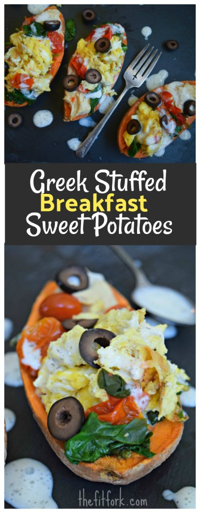 Greek Stuffed Breakfast Sweet Potatoes is a savory, smart way to start the day -- healthy complex carbs, protein from eggs and hummus, and vitamin packed veggies.  Vegetarian and gluten-free, 15 minute recipe.