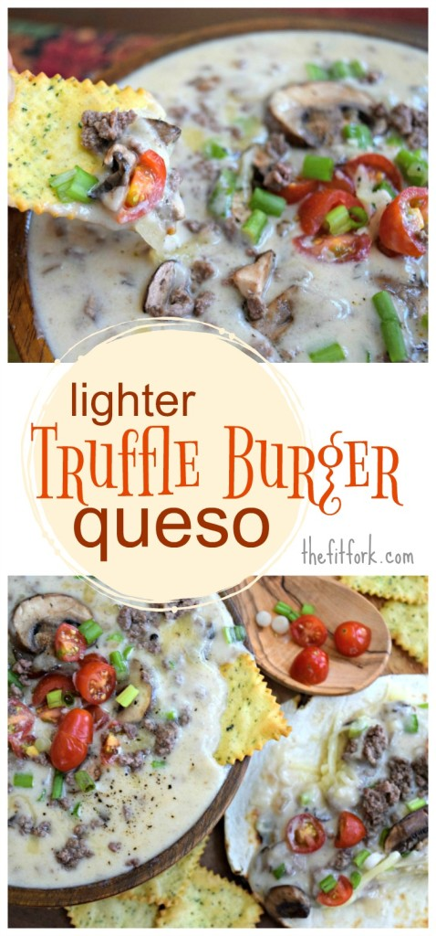 Lighter Truffle Burger Queso makes a winning appetizer for your game day parties and other casual entertaining. Lower fat dairy, lean beef, mushrooms and veggies make this dip a smarter treat. Leftovers are awesome for a quick dinner stirred into pasta or scooped onto tortillas.