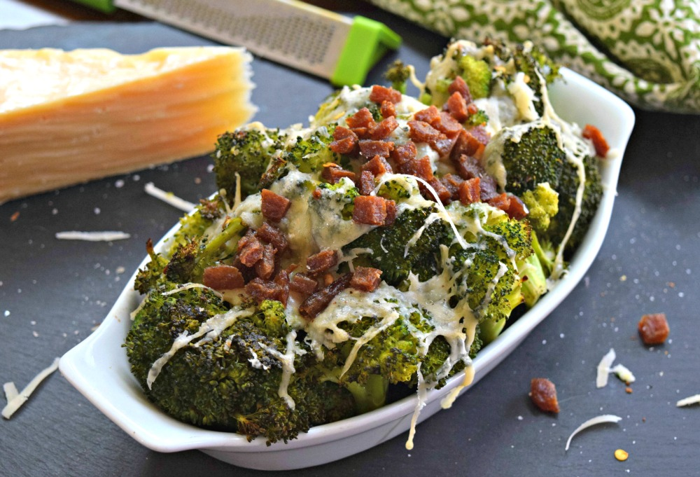 Bacon Asiago Roasted Broccoli