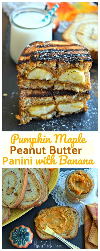 Pumpkin Maple Peanut Butter Panini with Bananas makes a hearty, balanced and yummy breakfast that the kids will love! Equally delicious for a quick and easy lunch or dinner.