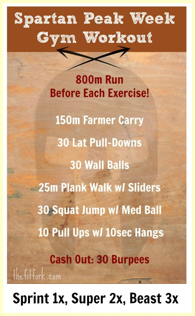 Spartan Peak Week Gym Workout -- reach your obstacle course race goals with this high intensity, speed and strength-focused workout that can be done in a gym.