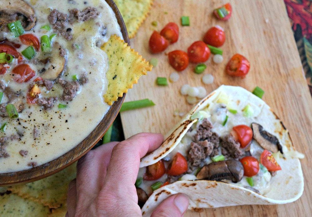 Truffle Burger Queso in Tortilla