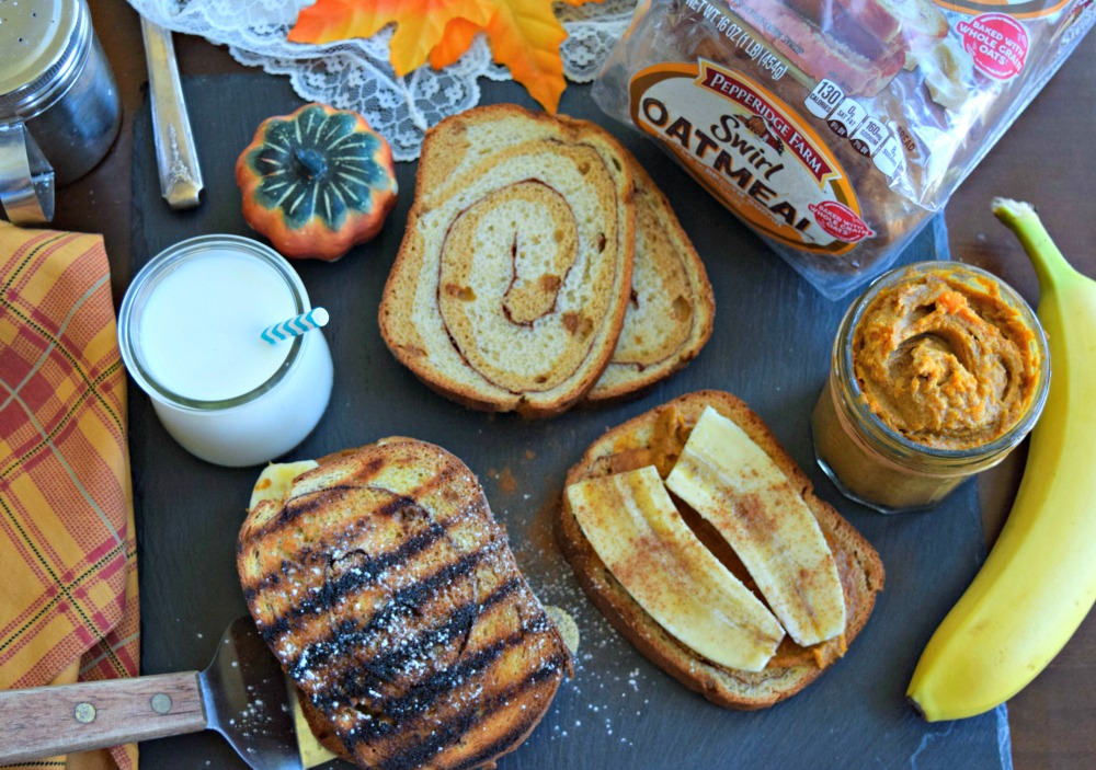 Pumpkin Maple Peanut Butter Panini with Pepperidge Farms Swirl Oatmeal Bread