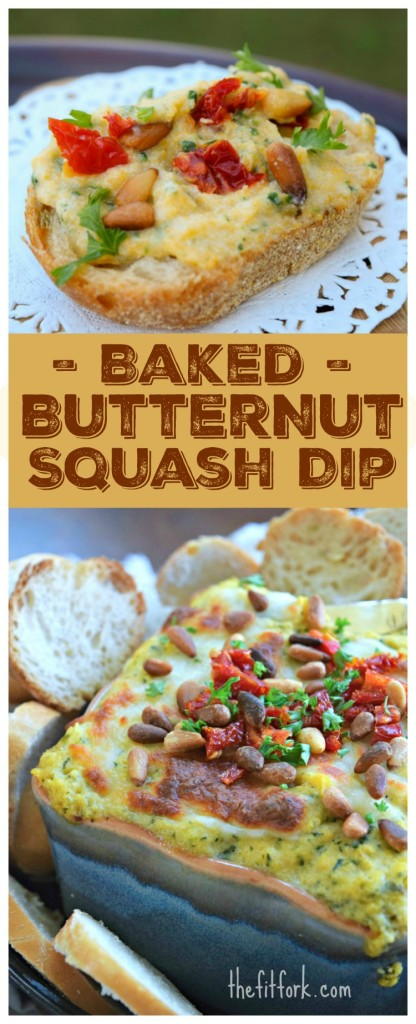 Baked Butternut Squash Dip whips up in a blender using thawed frozen squash, ricotta, ranch dressing and more. A great autumn appetizer for Halloween, Thanksgiving and other holiday parties.