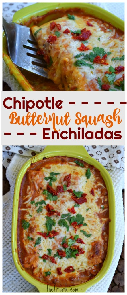 Chipotle Butternut Squash Enchiladas are an easy vegetarian dinner, so creamy and comforting for the fall season. Vegetarian, gluten-free with corn tortillas and perfect for meal-prep or freezer meals.