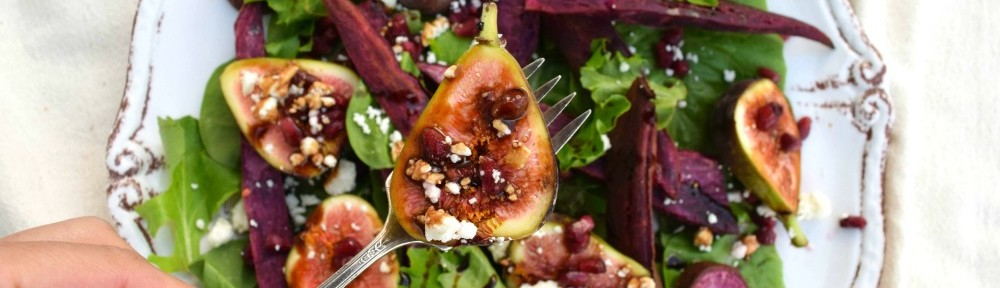 Purple Sweet Potato Salad with Figs, Pomegranate and Balsamic Syrup.