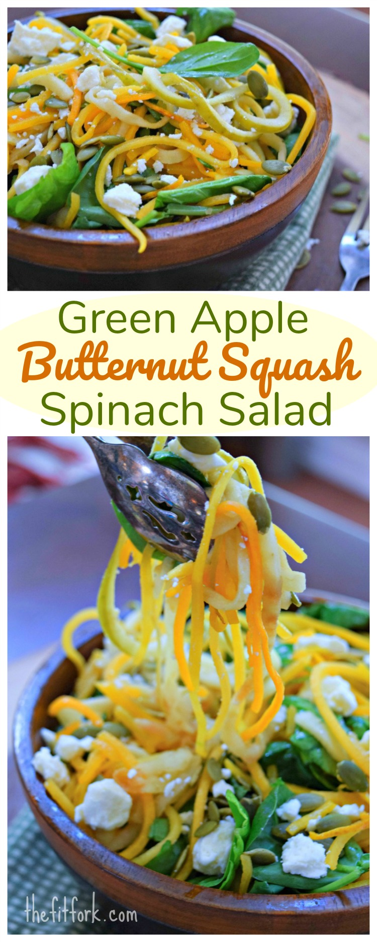 Spiralized Green Apple Butternut Squash Salad makes a beautiful, nourishing side dish loaded with fall season fruits and vegetables. Serve as a side dish or add protein to make an entree salad. Finished with feta, pepita seeds and ginger honey dressing.