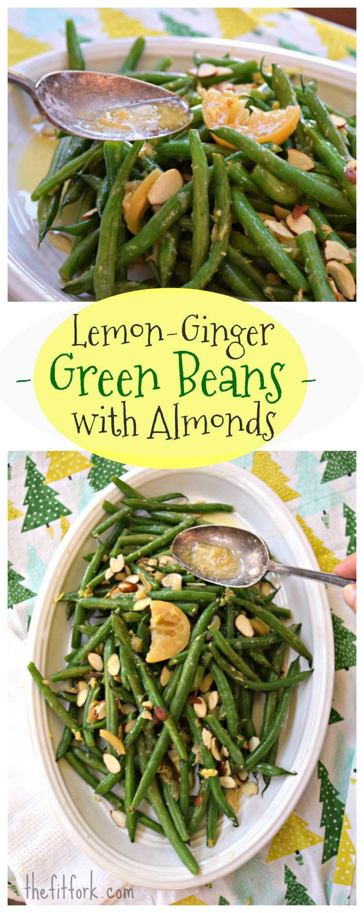 Lemon Ginger Green Beans with Almonds is a quick and easy 10 minute side dish for your holiday dinner.