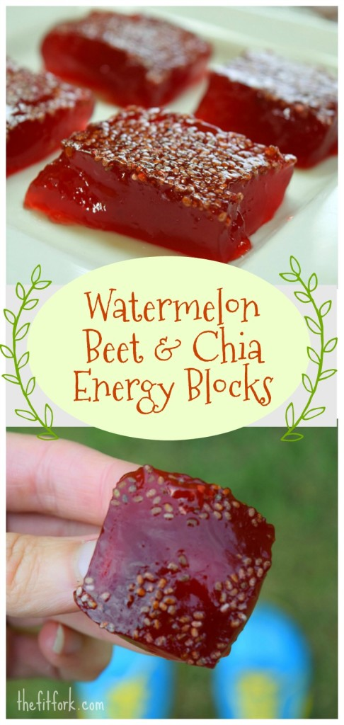 Watermelon Beet & Chia Energy Blocks are a great race fuel for marathons, ocr, triathlons and other endurance events. Made with watermelon juice that is a natural source of sugars and has l-citrulline which may help to improve performance and reduce muscle fatigue. Vegan.