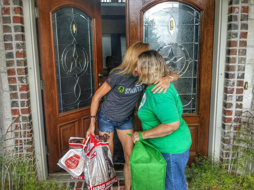 hugging my shipt shopper for delivering groceries so fast