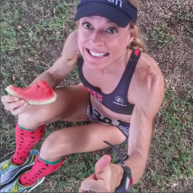 jennifer post run eating watermelon freedom 5k