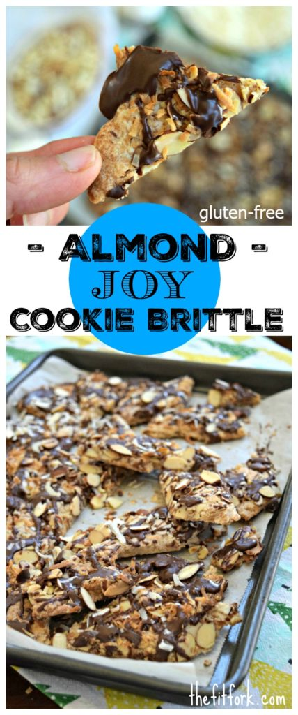 Almond Joy Cookie Brittle made with gluten-free flour blend is a yummy holiday treat for entertaining or gift-giving. Can also be made with traditional flour.