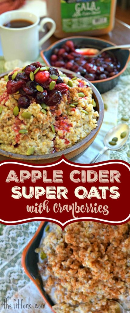 Apple Cider Super Quinoa Oats with Cranberries are made with a nourishing blend of steel cut oats, quinoa and omega-rich seeds. Cranberries and pepitas on top, you can switch up the fruit and nuts as you like! Easy to meal prep and freeze in individual servings.