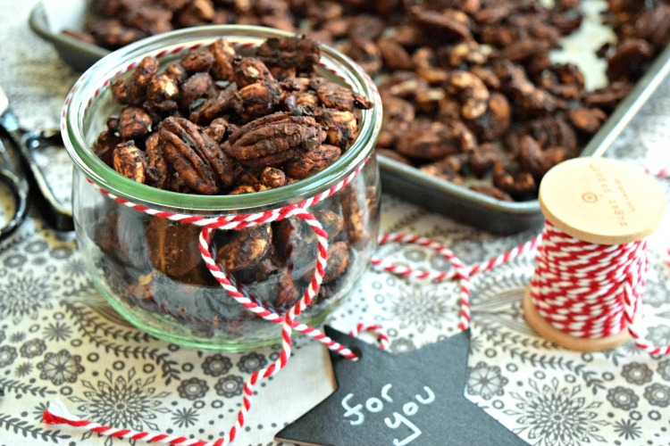Cocoa Chai Spiced Nuts are an easy, yummy gift made with cocoa powder, date sugar and assorted raw nuts like pecans, cashews and almonds.