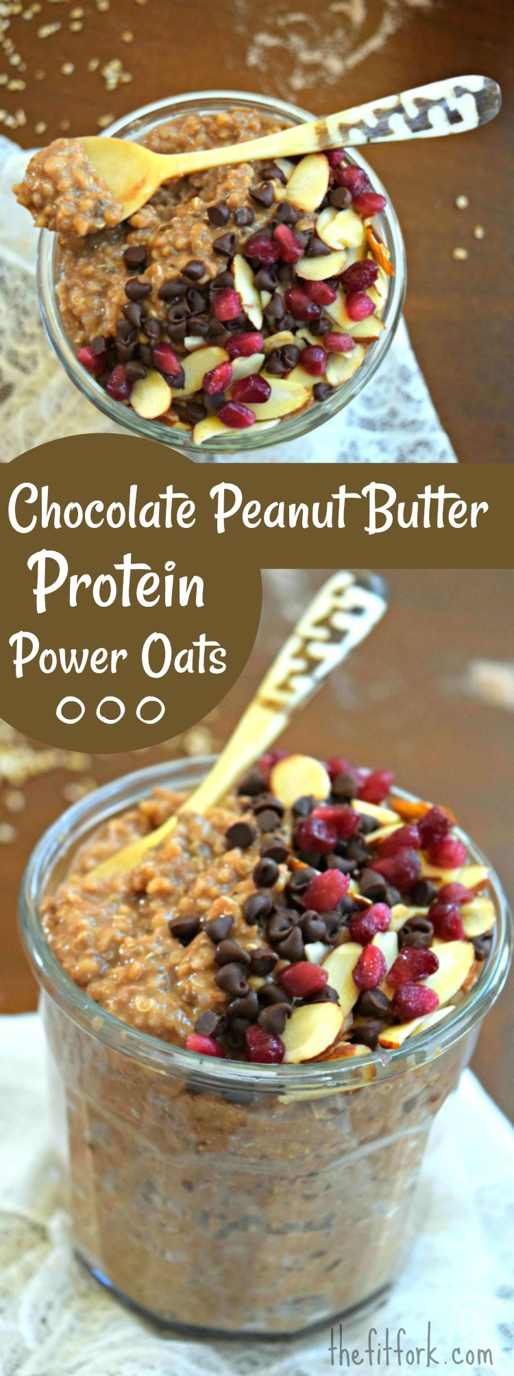 Chocolate Peanut Butter Protein Power Oats is an easy make-ahead breakfast with 22 grams of protein, 7 grams of fiber, and lots of healthy complex whole grain carbs and omega fats to fuel fitness and an active lifestyle.