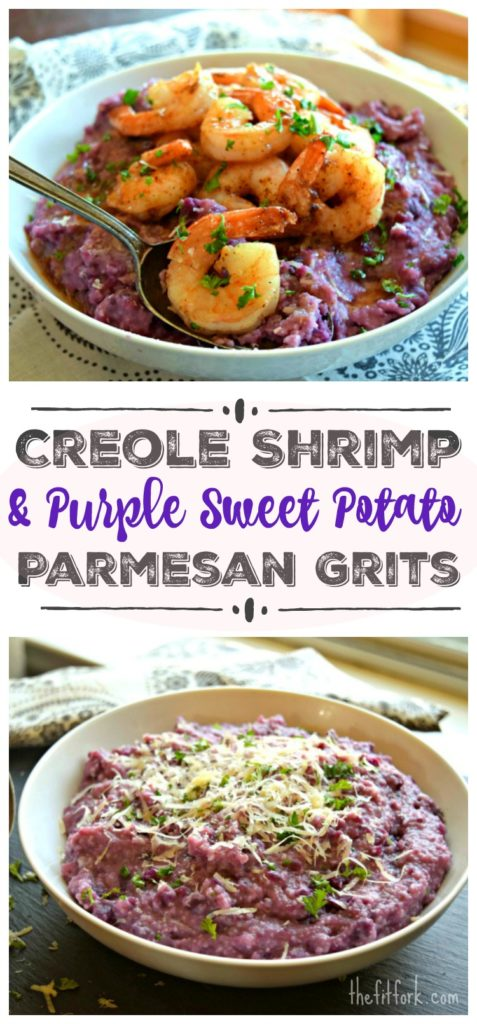 Creole Shrimp with Purple Sweet Potato Parmesan Grits is a unique twist on a southern comfort food.