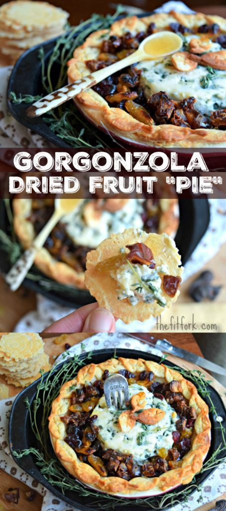Gorgonzola and Dried Fruit Pie - a simple yet stunning 4-ingredient appetizer for your holiday party and entertaining!