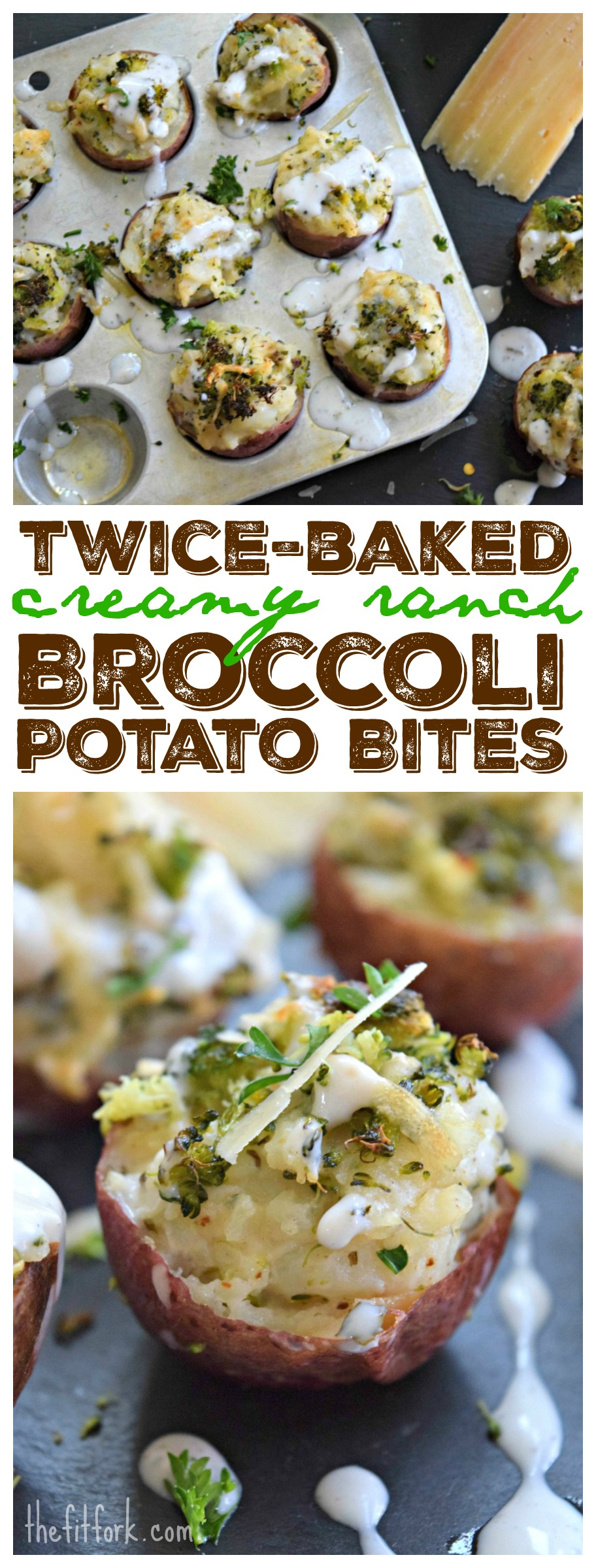 Twice Baked Creamy Ranch Broccoli Potato Bites make a yummy side dish (especially when you don't want a whole big baked potato) or easy party appetizer.