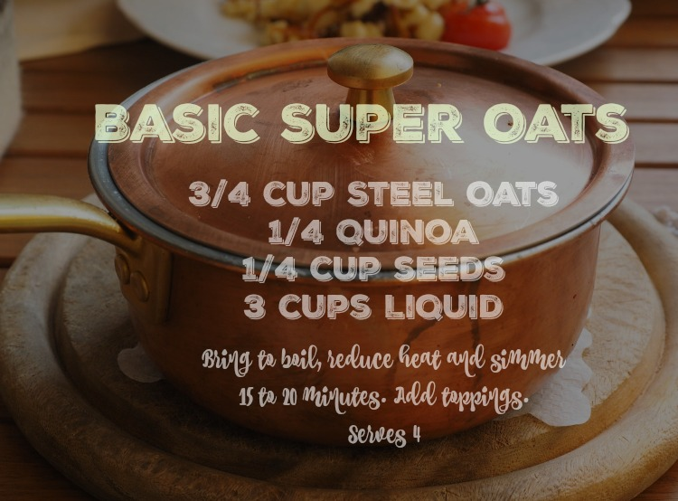 This Basic Super Quinoa Oats Recipe can be easily customized with the seeds of choice (like hemp, flax, chia, etc) and liquid (juice, milk, coffee), and toppings