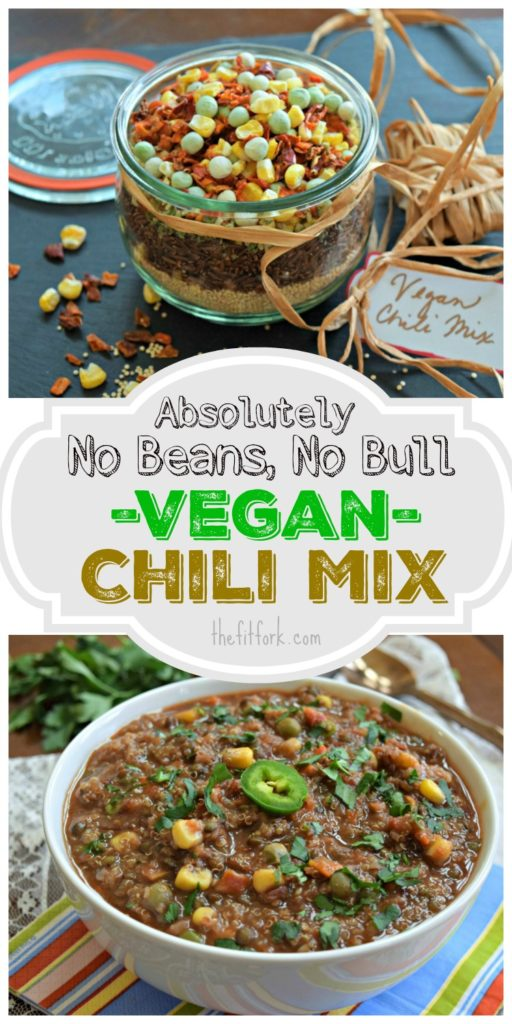 Absolutely No Beans No Bull Vegan Chili Mix is easy to meal prep by layering dry ingredients in a jar and storing in the pantry. When ready to make, simply add vegetable broth and tomato paste to this tasty vegetarian soup.