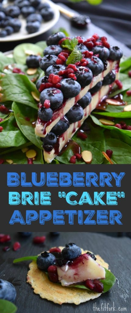 "Blueberry Brie Cheese ""Cake"" Appetizer is  a fun, flavorful and festive cheese appetizer for a cocktail party or prelude to dinner! Since it looks like a slice of sweet cheesecake, this sweet-savory recipe will be a real conversation starter for all your entertaining."