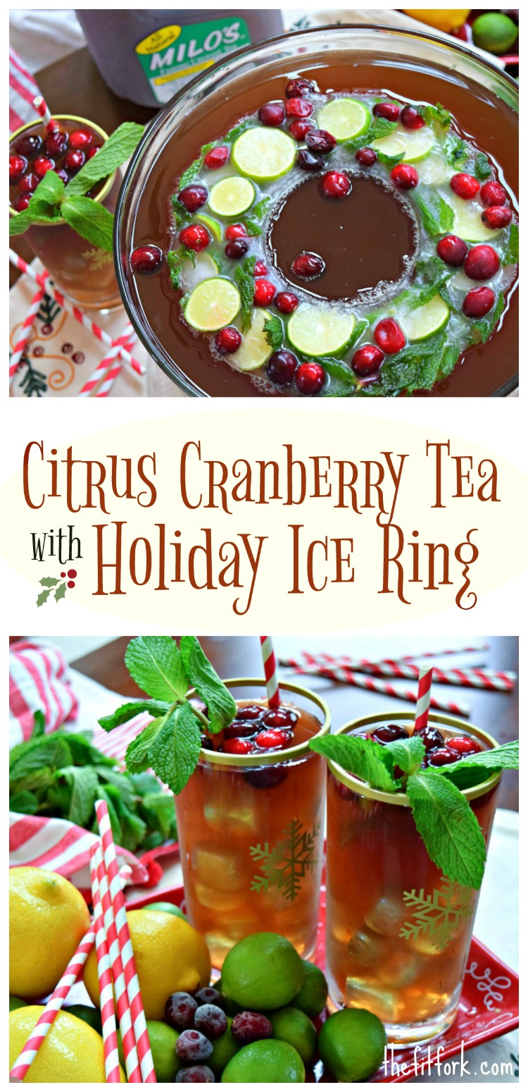 Citrus Cranberry Tea with Holiday Ice Ring is a festive addition to your holiday celebration. A non alcoholic libation that's suitable for the entire family. Four ingredient punch an super easy to make ice ring with lemonade, ginger ale, lemons, limes, cranberries and mint. Featuring Milo's Tea #PassTheMilos #Pmedia #ad