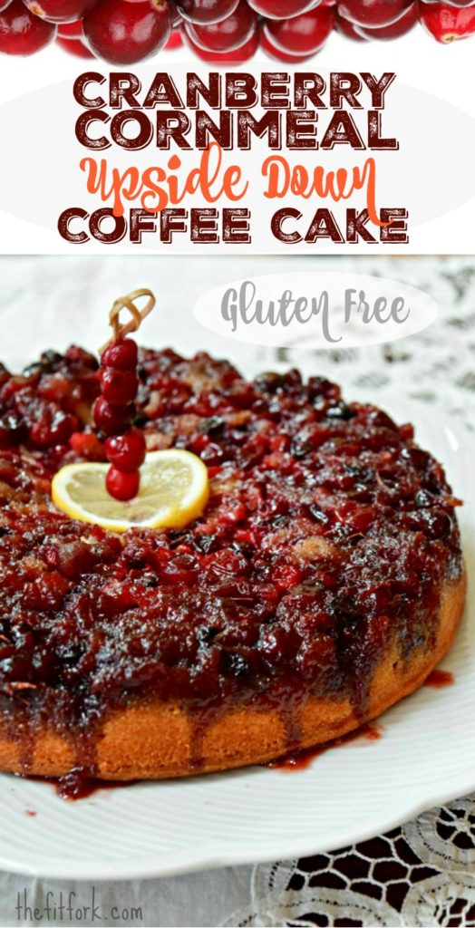 Upside Down Cranberry Cornmeal Coffee Cake is quick and easy treat for a holiday breakfast, Christmas brunch or warm seasonal dessert. Lower in sugar and gluten free.