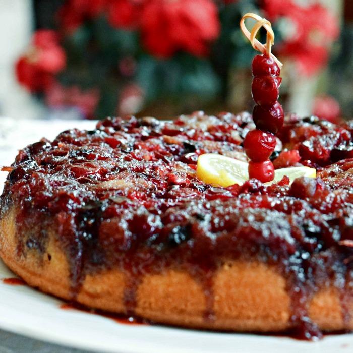 Upside Down Cranberry Cornmeal Coffee Cake