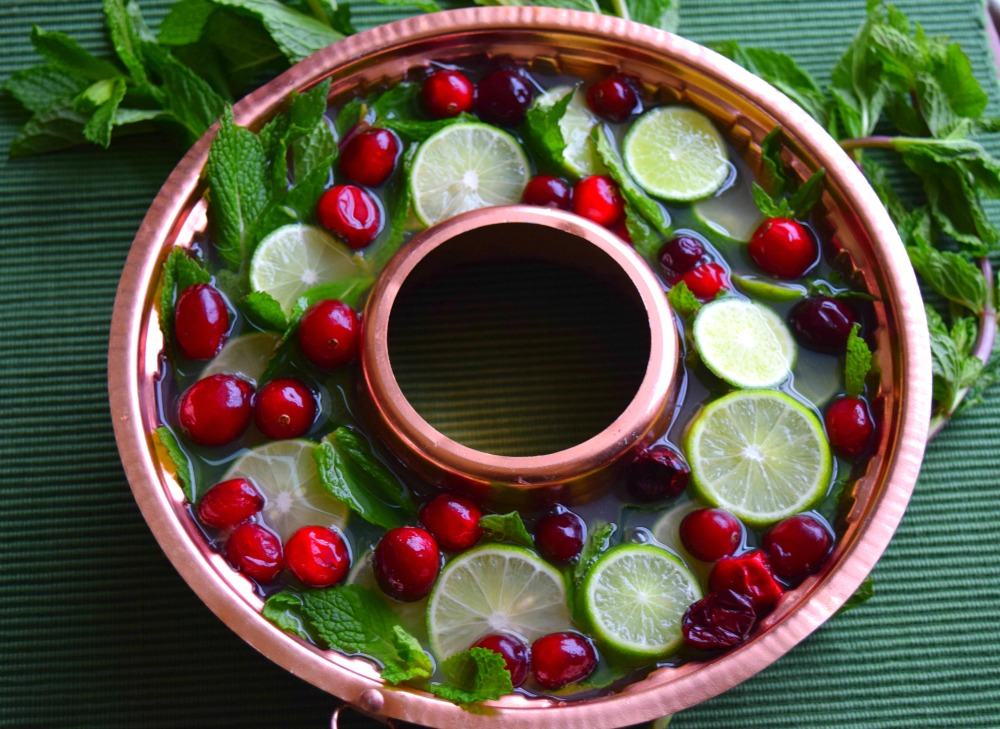 Citrus Cranberry Tea with Holiday Ice Ring