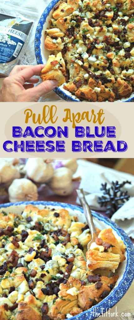 Pull Apart Bacon Blue Cheese Bread is a quick and easy appetizer idea for your next party. Who doesn't love no stress entertaining during the holidays?!