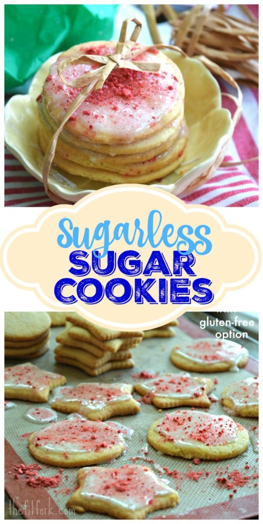 Sugarless Sugar Cookies are delicious sugar free option for your Christmas or other holiday party. Recipe has a variation for gluten free diets.