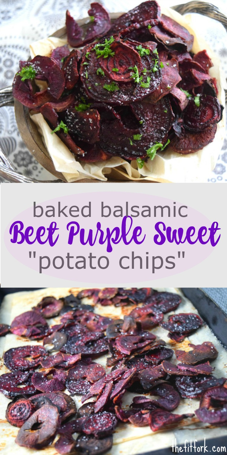 Baked Balsamic Beet and Purple Sweet Potato Chips are super easy to make and make a healthy snack or side dish with lunch or dinner.