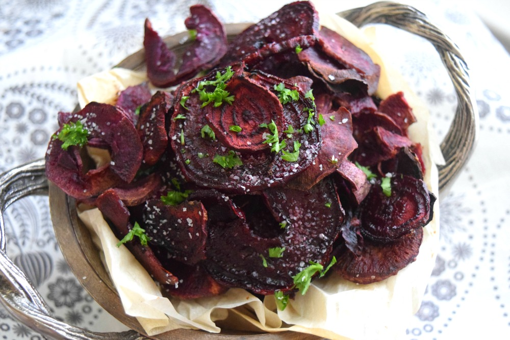 Baked Balsamic Beet and Purple Sweet Potato Chips