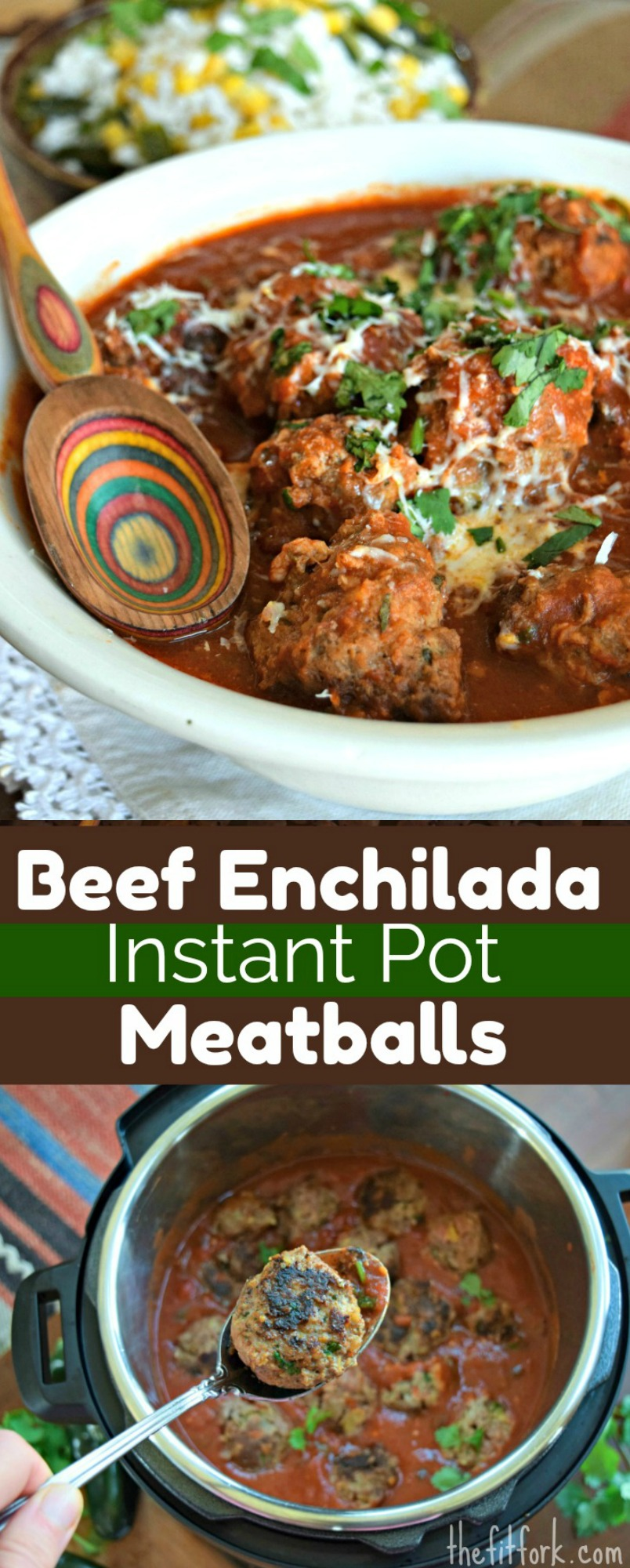 Beef Enchilada Instant Pot Meatballs taste like you've slow-simmered all day, but actually only 40 minutes prep to dinner plate! Also great as an appetizer.