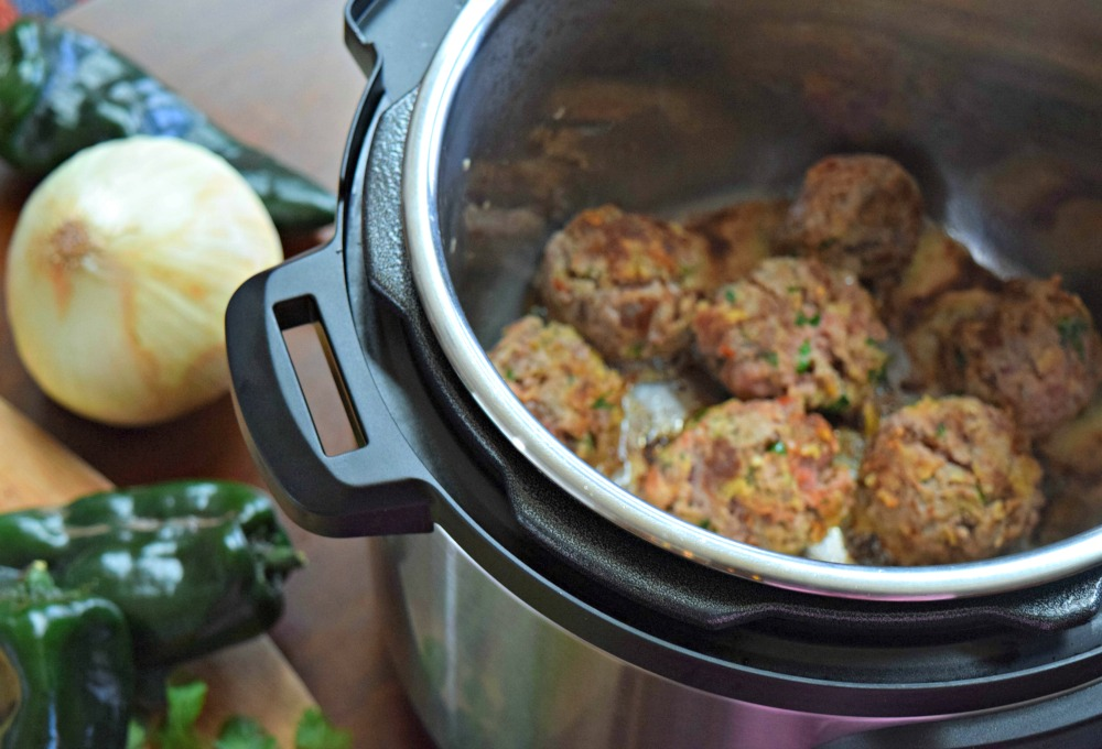Browning meatballs in Instant Pot.