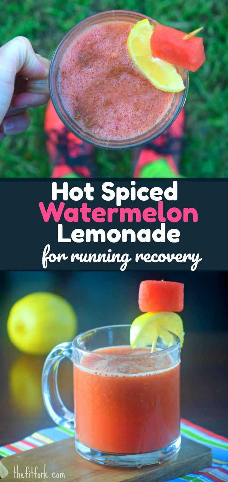 Hot Spiced Watermelon Lemonade for Running and Workout Recovery -- made from fresh watermelon , lemons, turmeric, cinnamon and black pepper. Collagen protein is also added for improved muscle, joint and ligament recovery after exercise..