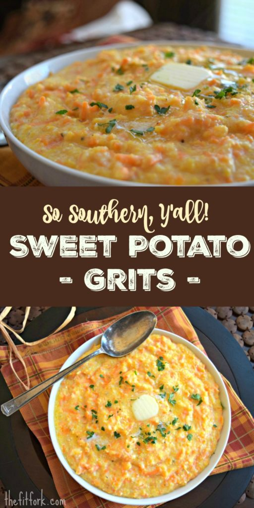 So Southern Y'all Sweet Potato Grits is an easy, delicious side dish or base to topped with sauteed vegetables and protein. Or, sprinkle with cinnamon for a hearty breakfast.