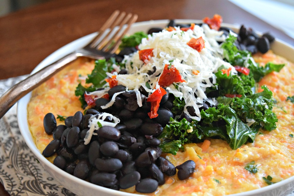 Sweet Potato Grits with Kale and Black Beans
