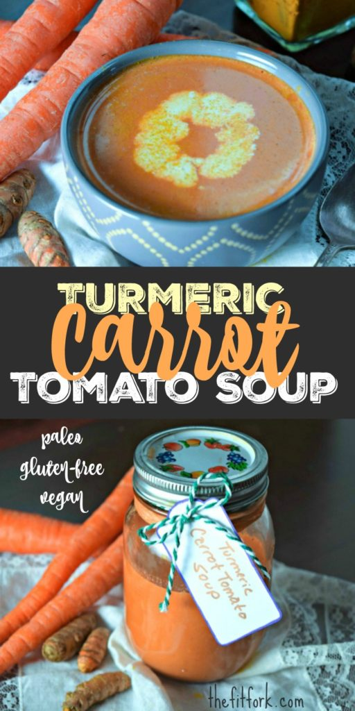 Turmeric Carrot Tomato Soup - Paleo, gluten-free, dairy-free and vegan. A quick and nourishing soup loaded with wellness to go along with your dinner or lunch.