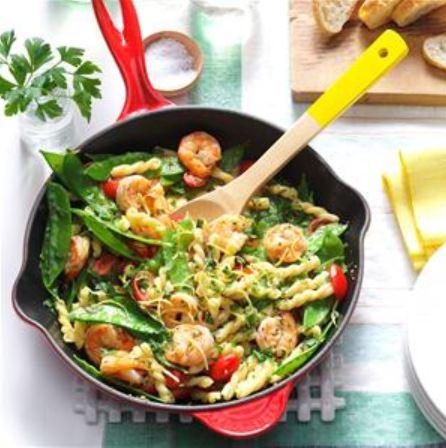 Lemony shrimp and Snow Pea Pasta