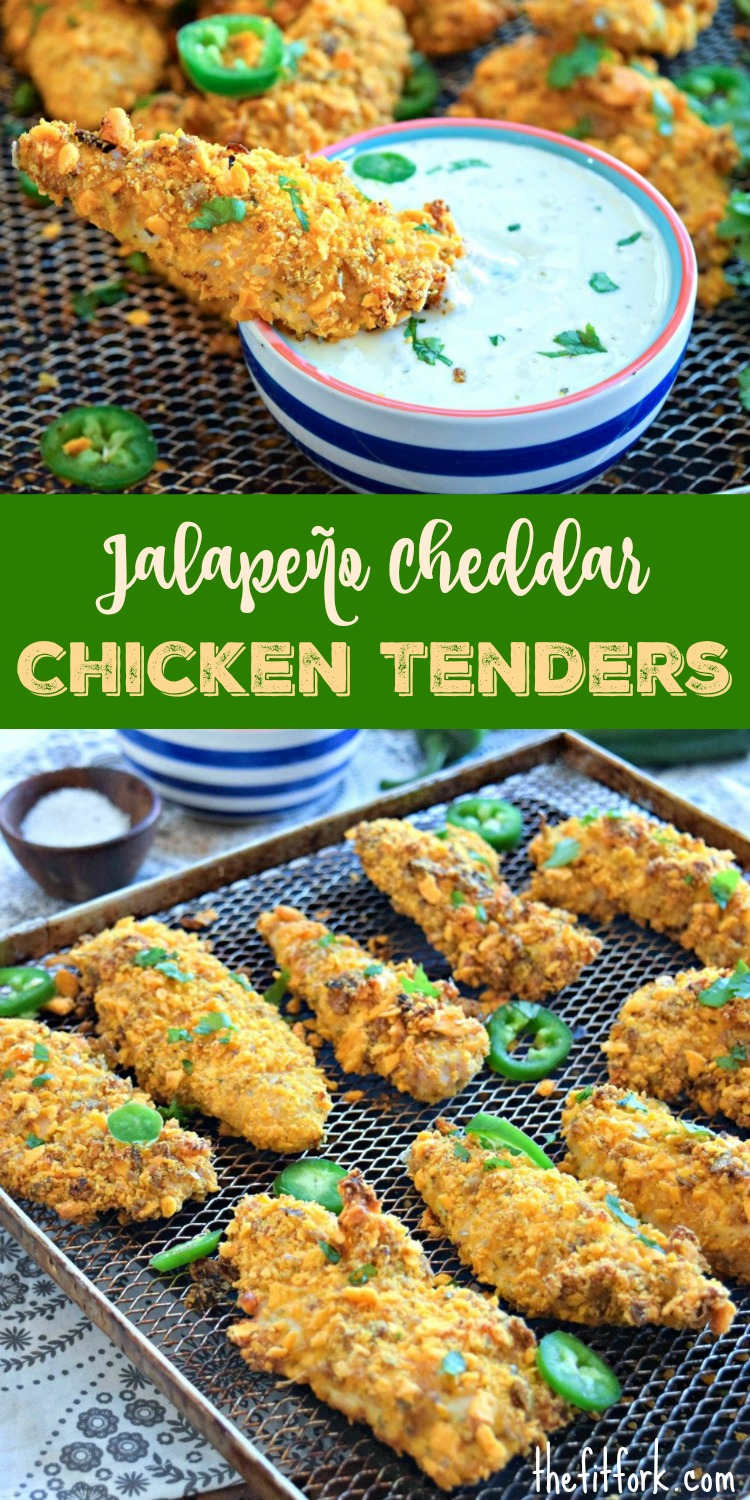 Jalapeno Cheddar Chicken Tenders are a quick, easy and healthy option for easy weeknight meals and casual entertaining. We're making them as an appetizer for the Big Game!