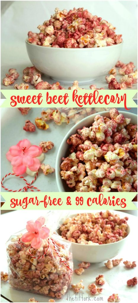 Sugar Free Beet Kettle Corn makes a healthy snack with no sugar and only 99 calories per 4 cups serving. Fun for Valentine's day, baby showers, Easter and other times a pink snack is appropriate!